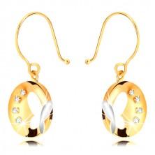 Cercei din aur combinat 375 - cerc lucios cu fluture și zirconii