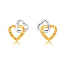 Cercei din aur combinat de 9K - contururi de inimă interconectate, închidere de tip fluturaș