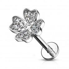 Piercing pentru ureche, bărbie sau buză - simbolul norocului cu zirconii transparente