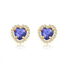 Cercei din aur galben 375 - zirconiu sub formă de inimă culoarea safirului