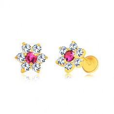 Cercei din aur 585 - floare din zirconii, zirconiu roz în centru, închidere de tip fluturaș