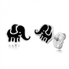 Cercei din argint - elefant cu smalț de nuanță neagră
