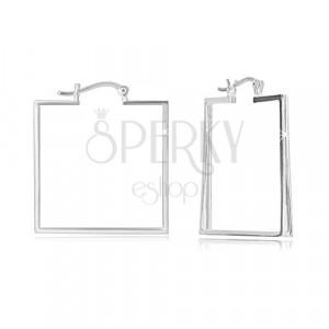 Cercei din argint 925 - pătrat spațios, trei linii verticale, închidere Franceză