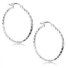 Cercei din argint 925 - cercuri lucioase cu zone mici tăiate, închidere Franceză
