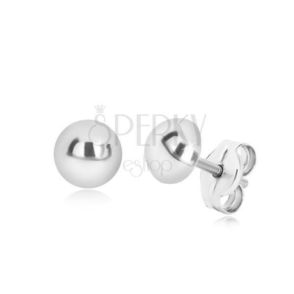 Cercei din argint 925 - semi-bilă simplă, suprafață lucioasă, 6 mm
