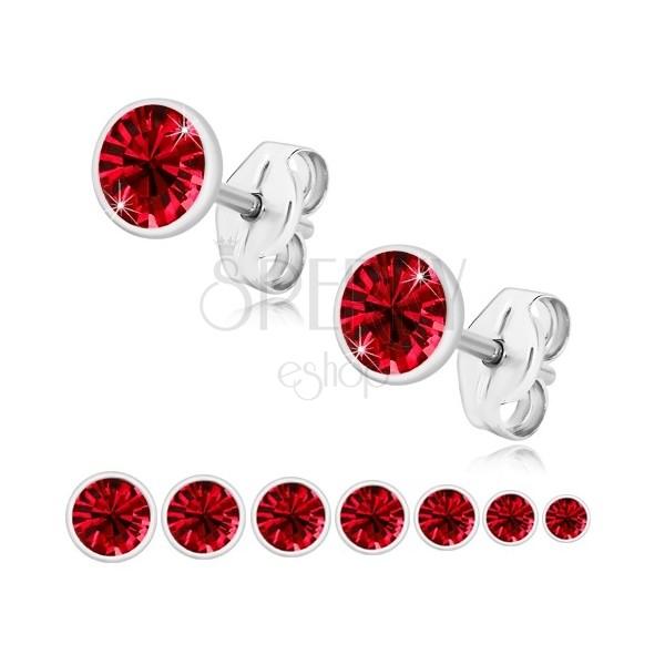 Cercei din argint 925 - zirconiu roșu rubin, suport strălucitor