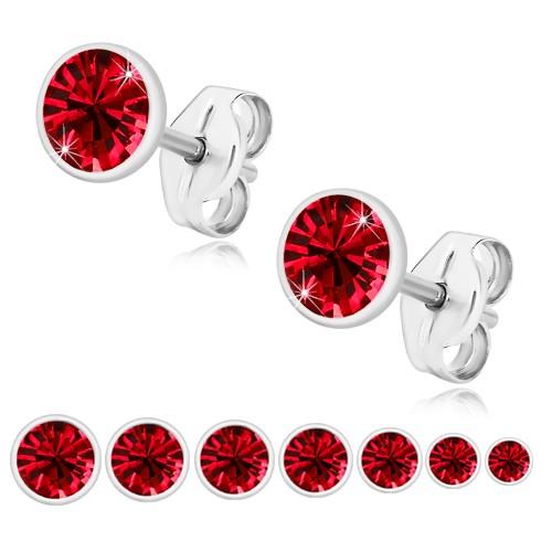 Bijuterii eshop - Cercei din argint 925 - zirconiu roșu rubin, suport strălucitor U29.14 - Dimensiune stras: 3,5 mm