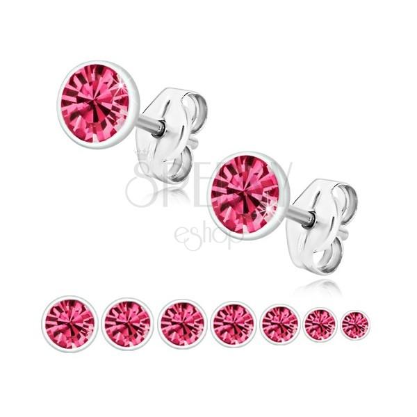 Cercei din argint 925 - zirconiu strălucitor de culoare roz în suport rotund
