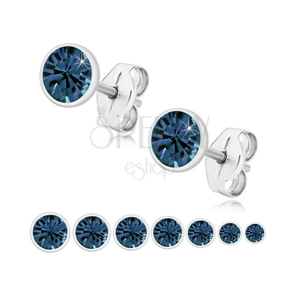 Cercei din argint 925 - zirconiu strălucitor de culoare albastru închis, suport rotund