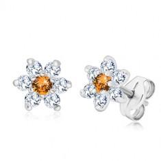 Cercei din argint 925 - floare cu zirconii strălucitoare cu centru portocaliu