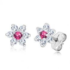Cercei din argint 925 - floare cu zirconii strălucitoare cu centru roz