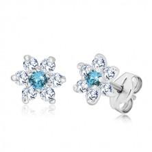 Cercei din argint 925 - floare cu zirconiu stălucitor albastru deschis, închidere tip fluturaș