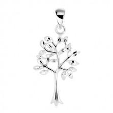 Pandantiv – copacul vieții, trunchi îngust cu coroană ramificată, argint 925