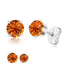 Cercei din argint 925 - zirconiu rotund strălucitor în nuanță portocalie