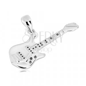 Pandantiv din argint 925 - chitară bas detaliată, suprafață lucioasă