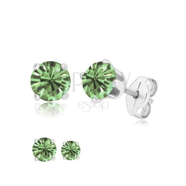 Cercei din argint 925 - zirconiu rotund strălucitor în nuanță verde deschis