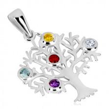 Pandantiv din argint 925 - copacul vieții, coroană ramificată, zirconii colorate