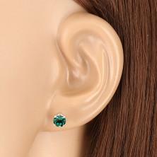Cercei din argint 925 - zirconiu rotund strălucitor în nuanță verde smarald
