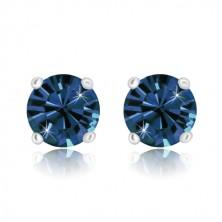 Cercei din argint 925 - zirconiu rotund strălucitor de culoare albastru închis