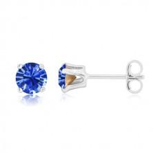 Cercei din argint 925 - zirconiu rotund strălucitor de culoare albastru safir