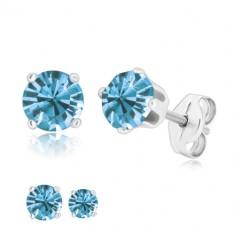 Cercei din argint 925 - zirconiu rotund strălucitor albastru-deschis