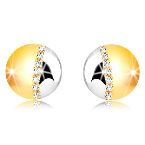 Bijuterii eshop - Cercei din aur combinat 375 - cerc în două culori, linie de zirconii transparente GG54.33