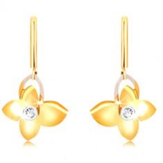 Cercei din aur 9K - baston îngust, fluture cu zirconiu, contur aripa din aur alb