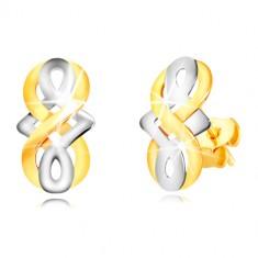 Cercei din aur 9K - simbol al infinitului, nod celtic din aur alb, închidere de tip fluturaș