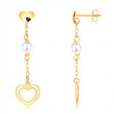 Cercei din aur galben 375 - inimă, perlă pe lanț, contur dublu de inimă