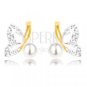 Cercei din aur combinat 9K - fluture cu aripi din aur alb, zirconii, perlă