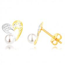 Cercei din aur combinat 375 - contur inimă în două culori, zirconii și perla albă