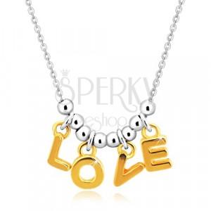 """Colier din argint 925 - lanț, litere """"L-O-V-E"""" în nuanță aurie și bile"""