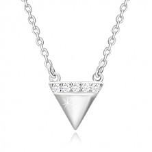 Colier din argint 925 - triunghi inversat, linie cu zirconii strălucitoare