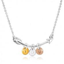 """Colier din argint 925 - săgeată curbă, cercuri în trei culori """"I HEART YOU"""""""