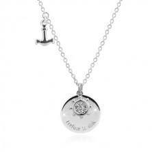 """Colier din argint 925 - ancoră, roata navei, cerc lucios cu inscripția """"I refuse to sink"""""""