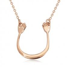 Colier din argint 925 în nuanță roz-auriu - arc lucios și două mâini