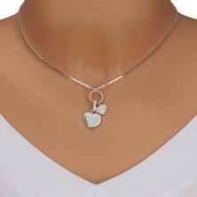Colier din argint 925 - lanț lucios din zale unghiulare, pandantiv multiplu, inimi