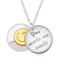 """Colier din arignt 925 - două cercuri proeminente, inscripția """"You make me smile"""", față zâmbitoare"""