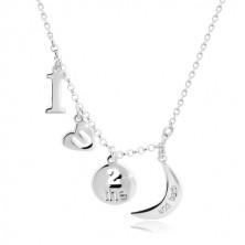 "Colier din argint 925 - pandantive cu motiv ""I love you to the moon and back"""