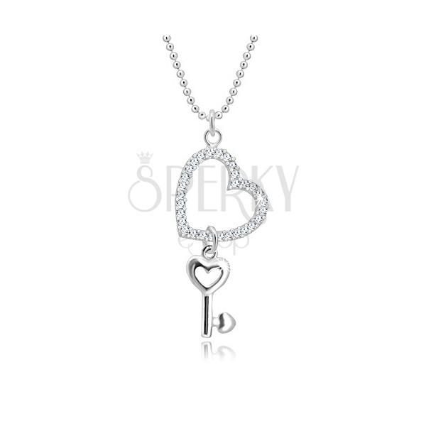 Colier din argint 925 - lanț army, contur de inimă cu zirconii, cheie