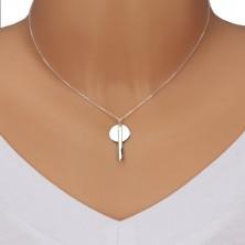 Colier din argint 925 - lanț strălucitor, cerc lucios cu dreptunghi