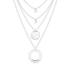 Colier din argint 925 - patru lanțuri cu pandantive, cercuri și inimă, inscripții