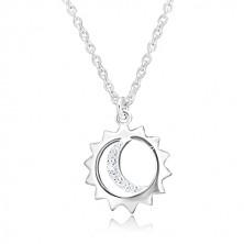 Colier din argint 925 - pandantiv pe lanț, contur de soare și lună cu zirconii