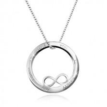 Colier din argint 925 - contur cerc cu simbolul infinitului, inscripție, lanț unghiular