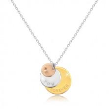 """Colier din argint 925 - cercuri în trei culori """"ME YOU FOREVER"""", lanț strălucitor"""