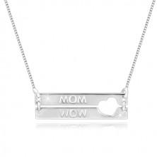 """Colier din argint 925 - dreptunghi cu decupaj în formă de inimă, inscripție """"MOM"""""""