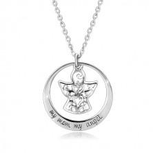 Colier din argint 925 - contur cerc, înger cu ornamente, inscripție