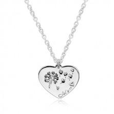 """Colier din argint 925 - inimă simetrică, păpădie, inscripție """"Mom"""""""