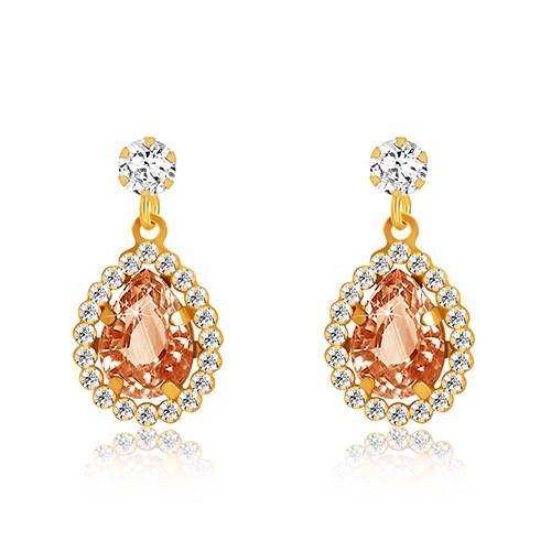 Bijuterii eshop - Cercei din aur galben 375 - zirconiu transparent, lacrimă miere-portocalie, margine strălucitoare GG53.25