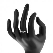 Inel din argint 925 - zirconiu dreptunghiular de culoare neagră, zirconii rotunde transparente